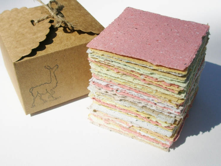 Handmade Recycled Note Paper with Llama Poo