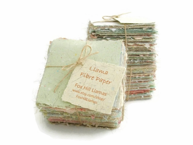 Handmade Recycled Note Paper with Llama Fibre