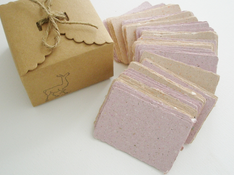 Handmade Recycled Paper with Llama Poo - Business Cards