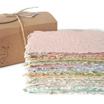 Box of Hand-made Recycled Paper. Hand Torn Recycled Paper, 100 sheets. Scrap Pack, Craft Box
