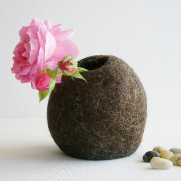 Llama Fibre Hidden Vase. Felt Pod Vase. Table Centrepiece / Decor. Australian Llama Fibre Accents