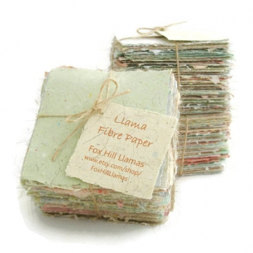 Llama Fibre Note Paper. 100 Sheets Hand-made, Hand Torn Recycled paper with Llama Fibre. Valentine's Day Gift Gift Boxed