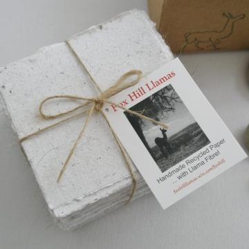 Llama Fibre Note Paper. Handmade, Hand torn note paper, 100 sheets