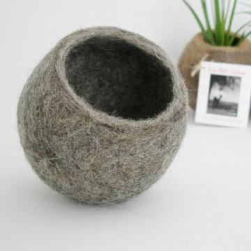 Llama Fibre Vessel, Gift Boxed, Grey Felt Pod / Felted bowl / Organizer. Valentine's Day Gift