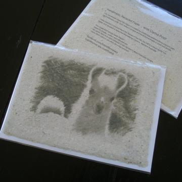 Card, Llama Poo Paper. Hand Made recycled paper with llama poo! Blank Llama Lover Gift