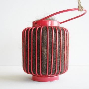 Bird Nester, Llama Fibre. Nesting Material to Attract Native Birds to your Garden. Red Outdoor lantern