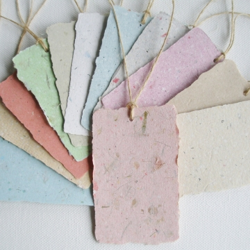 Handmade Recycled Paper Tags. 12 Gift Tags / Swing Tags with Deckle Edge for Eco Friendly Gifts