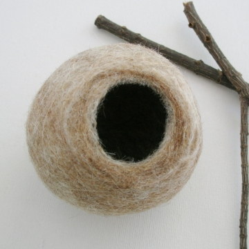 Llama Fibre Vessel. Gift boxed, Felt Vessel. Felt Pod / Felted bowl / Organizer