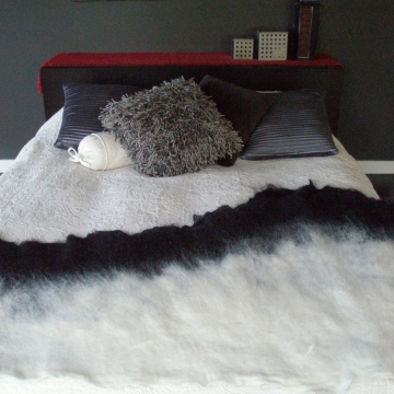 Alpaca Felt Bed Runner - Felted Black and White Rug - Alpaca Throw - Felt Mat - Eco Friendly Throw