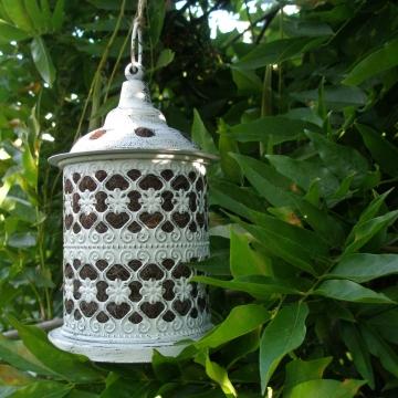 Bird Nester, Metal Garden Lantern, Llama Fibre Nesting Material, Garden Chic, Outdoor lantern, Ornate, White, Mother's Day Gift Idea