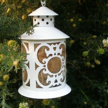 White Bird Nester, Llama Fibre. Nesting Material to Attract Native Birds to your Garden. White Lantern, Small Garden Lantern, nature play