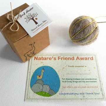 6 x Nature Awards and Bird Nesters, School Award, Assembly Certificates, Student Prize, Wildlife Warrior,  Eco Friendly Gift, Environment