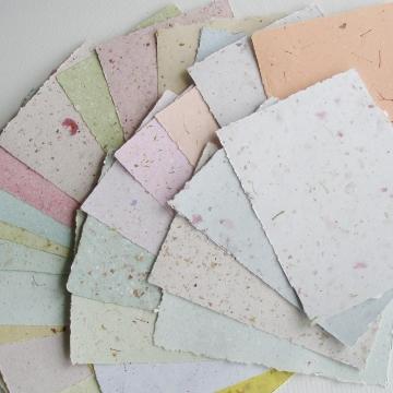 "4 x 6""  Recycled Paper, Mixed Handmade Paper, Botanicals, Flowers, Assemblage, Poet's Paper, Calligraphy Paper, Letter Paper, Organic"
