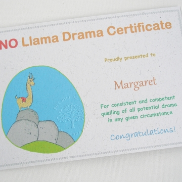 Novelty Certificate, NO Llama Drama, Office Certificate, Humerous Award, Funny, Amusing Certificate, Office Party, Fun Police, Office Fun