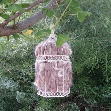 Bird Nester, Llama Fibre. Nesting Material to Attract Native Birds to your Garden -  LARGE  birdcage, Decorative Birdcage, Cream Bird Cage