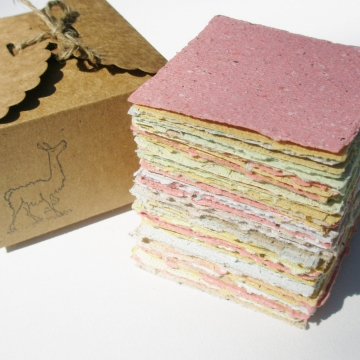 Hand made Llama Poo Note Paper. Hand-made, Hand Torn Recycled paper with Llama Poo, 100 sheets, gift boxed