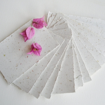 """5 x 7"""" Recycled Paper, Handmade Paper, Bougainvillea, Typewriter Paper, Poetry Paper, Calligraphy Paper, Letter Paper, Floral Paper"""