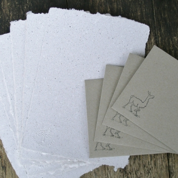 Llama Poo Paper Letter Set, Writing Set, Recycled Paper Sheets and Envelopes, Homemade Paper, Llama Gifts, Writing Paper, Llama Stationery