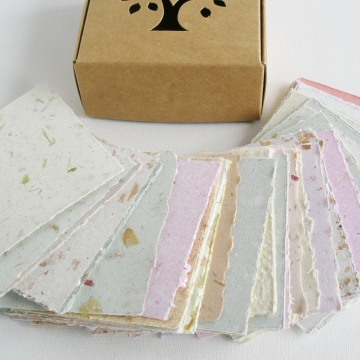 "50 Pieces 3.5 x3.5"" Handmade Recycled Note Paper, Gift Boxed,  Hand Torn"