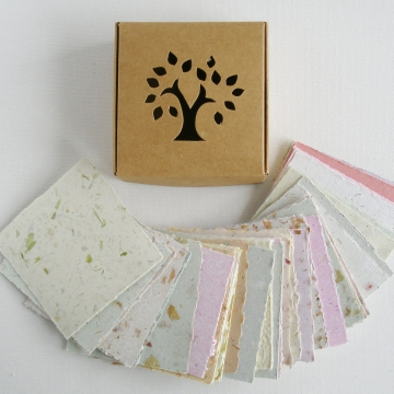 "Box of 3x3"" Note Paper, Handmade Recycled Note Paper, Gift Boxed Note Paper, Hand Torn Note Paper, 50 sheets, colourful paper, Craft Paper, Eco"