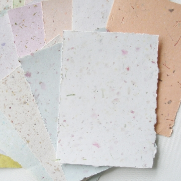 "5x7"" Sheets, Mixed Recycled Paper, Handmade Paper, Botanicals, Flowers, Paper Craft, Poetry Paper, Calligraphy Paper, Letter Paper, Stamping"