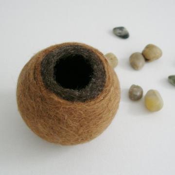 Llama Fibre Vessel - Gift boxed - Felt Pod - Felted bowl - Organizer - Llama Gift - Soft Decor - Felt Vessel - Small Pod