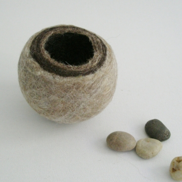 Llama Fibre Felt Vessel, Hand Felted, Gift Boxed, Soft, Rustic, Authentic. Felt Pod / Felted bowl / Organizer