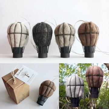Set of 3 Bird Nesting Fiber Hot Air Balloons