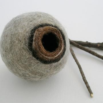 Grey Llama Fibre Vessel. Gift boxed, Felt Vessel / Felt Pod / Felted bowl / Organizer / Small Jewellery Bowl