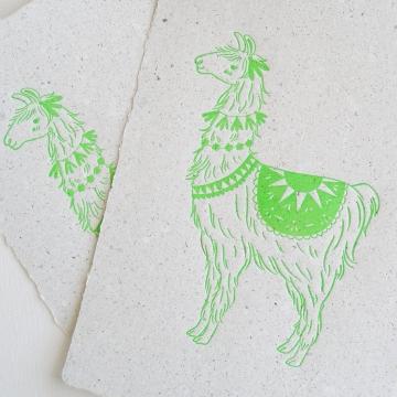 Llama on Poo Paper, Letterpress Print, Handmade Recycled Paper with Lama Poo, Llama, Llama Art, Nursery Art, Letterpress Art, Neon Green