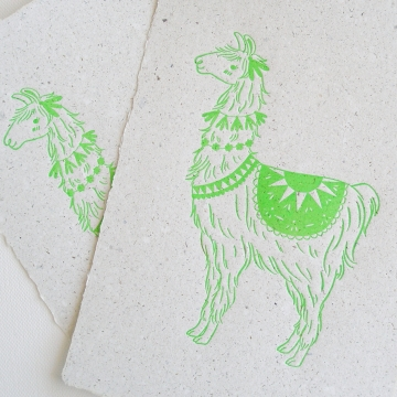 Llama on Poo Paper, Letterpress Print, Handmade Recycled Paper with Lama Poo, Llama, Llama Art, Nursery Art, Letterpress Art, Neon Green