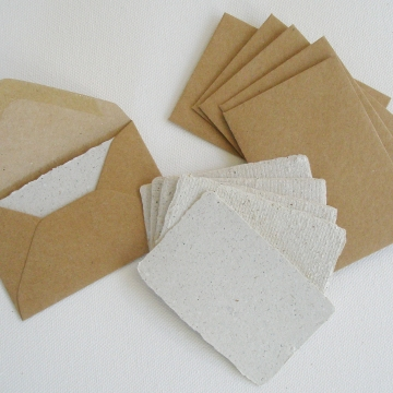Llama Poo Paper Cards with Envelopes, Gift Card Set, 6 Gift Cards, Calling Cards, Thank you cards, Blank Mini Cards with Envelopes, Recycled