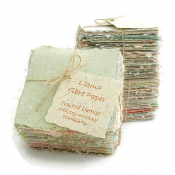 Llama Fibre Note Paper. 100 Sheets Hand-made, Hand Torn Recycled paper with Llama Fibre. Gift Boxed