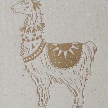 Letterpress Llama Print on Handmade Recycled Paper ... with Lama Poo! Llama Art, Alpaca Art, Cute Nursery Decor