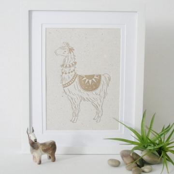 Letterpress Llama Print on Handmade Recycled Paper ... with Lama Poo! Llama Art, Alpaca Art, Cute Nursery Decor