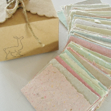 Little Box of Llama Love.  Message Paper for Mum, Love Note Paper - 120 Tiny Sheets of Handmade Recycled Paper with Llama Fibre.