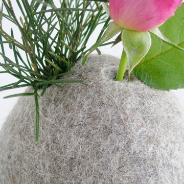 Llama Fiber Vase, Hooded Vase, Grey Vase, Grey Felt Pod, Grey Decor, Soft Decor, Felt Interiors, Minimalist Vase, Natural Decor, Animal Hair