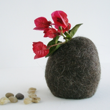 Hooded Vase, Llama Fiber Vase, Small Vase, Flower Vase, Animal Hair, Felt Pod Vase, Brown Vase, Hidden Vase, Rustic Home Decor, Llama Gifts