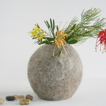 Vase, Llama, Hooded Vase, Grey Vase, Grey Felt Pod, Grey Homewares, Eco Decor, Felt Interiors, Minimalist Vase, Natural Fibre, Fur, Organic