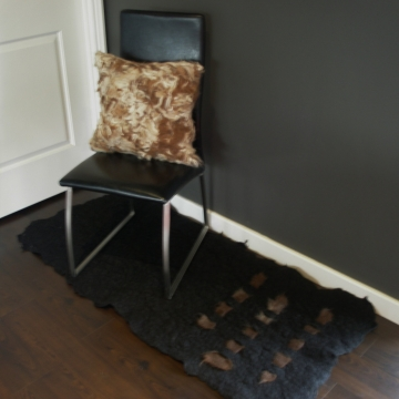 Authentic Alpaca Felt Rug / Mat, Black