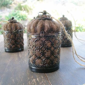 Black Bird Nester, Llama Fibre, Outdoor Lantern, Nesting Material to Attract Native Birds, Garden lantern, Bird Gifts, Black Garden Decor
