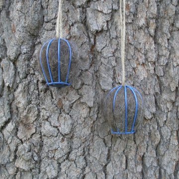 Bird Nesters, Llama Fibre Set of Two. Blue Native Bird Nesters in Gift Box, Mother's Day Gift