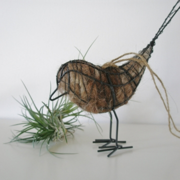 Native Bird Nester. Wire Bird with Llama Fibre Nesting Material. Mother's Day Gift, Spring Gift, Gift for Nature