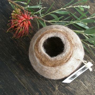 Llama Fibre Vessel, Gift Boxed, Natural Felt Pod, Felted bowl, Organizer, llama gifts, llama, llama lover gift