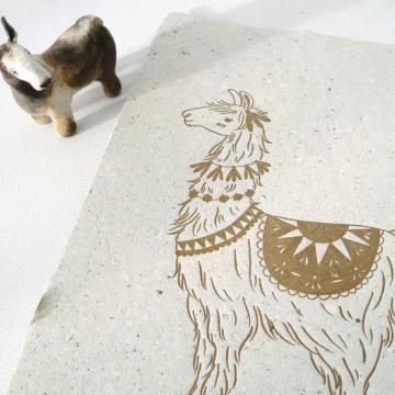 Llama Poo Paper, Letterpress Llama Print, Handmade Recycled Paper with Lama Poo, Llama Print, Llama Art, Nursery Art, Letterpress Art