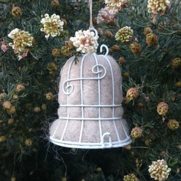 Wedding Bell, Bird Nester, Llama Fiber Nester, Wedding Decor, Wedding Decoration, Country Wedding, Garden Wedding Decor, Aisle Decor, White