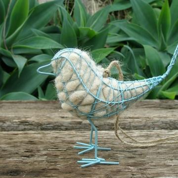 Blue Bird Nester, Wire Bird with Llama Fibre Nesting Material, Little Blue Bird, Backyard Bird, Nesting Supplies, Yard Art, Ornamental Bird