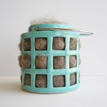 Teal Lantern, Bird Nester, Llama Fibre, Nesting Material, Teal Outdoor Lantern, Bird Gifts, Birds, Hanging Lantern, Teal Decor