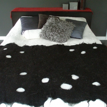 Bed Runner, Black Alpaca, Black Bedding, Black Bedroom Decor, Black Rug, Black Throw, Mat made with Alpaca Fibre, Black Bedroom