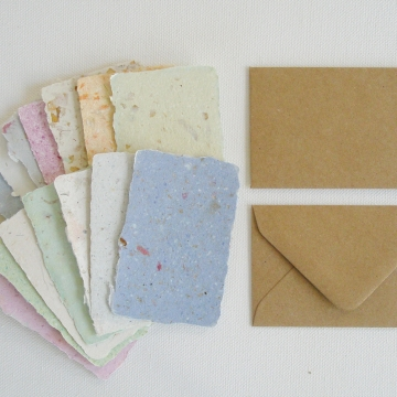 100 Handmade Recycled Mini Cards with Commercial Brown Recycled Envelopes